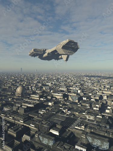 """Spaceship Overflying a Future City - science fiction illustration"" Stock photo and royalty-free images on Fotolia.com - Pic 207603759"