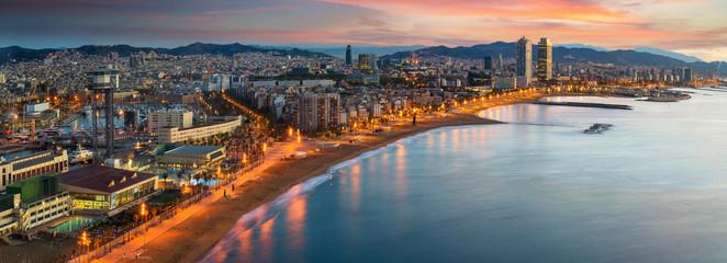 Printed roller blinds Barcelona Barcelona beach on morning sunrise