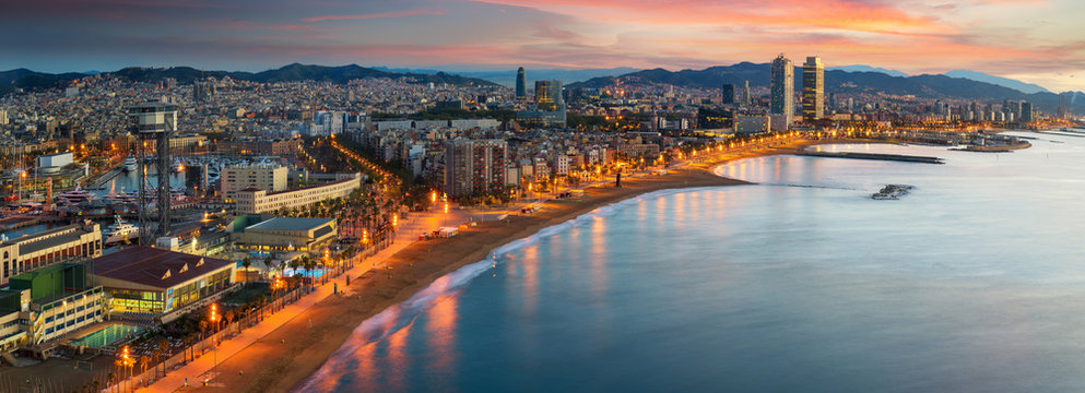 Barcelona beach on morning sunrise