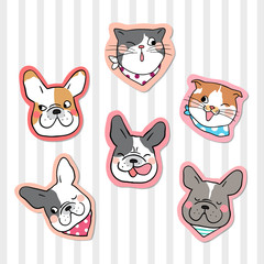 Collection sticker head of cat and dog pastel color