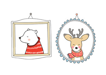 Draw portrait deer and bear in vintage frame for autumn