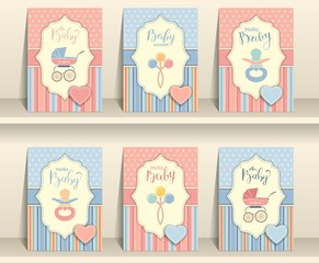 Set of baby invitation cards