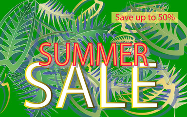 Summer sale , a banner with leaf patterns on a green background