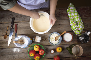 cooking food. Preparing fresh pancakes. Woman in the kitchen. Cooking at kitchen. top view