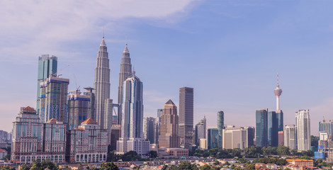 Canvas Prints Kuala Lumpur Kuala Lumpur skyline, view of the city, skyscrapers with a beautiful sky in the morning