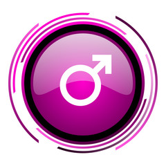 Male gender sign pink glossy web icon isolated on white background