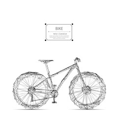 Abstract mash line and point bicycle origami on white background with an inscription. Abstract vector image of bike. Bicycle Low poly wire frame illustration. Lines and dots.