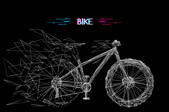 Abstract mash line and point bicycle origami on white background with an inscription. Vector image of bike with distruction effect. Bicycle Low poly wire frame illustration. Glitch title.