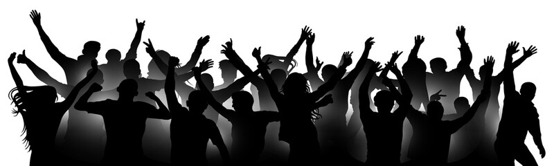 Cheerful people crowd applauding, silhouette. Party, applause. Fans dance concert, disco, concert, festival. Crowd of people dancing, hands up. Isolated vector