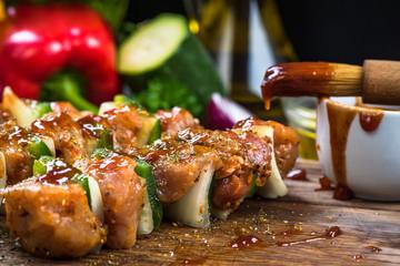 kebab skewers with meat and vegetables