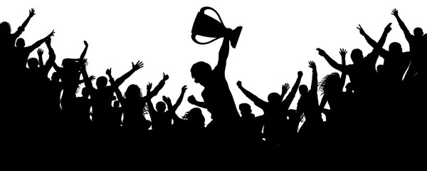 Sport victory cup. Cheering crowd fans silhouette. Сrowd of people sport fans, vector. Cheers of applause