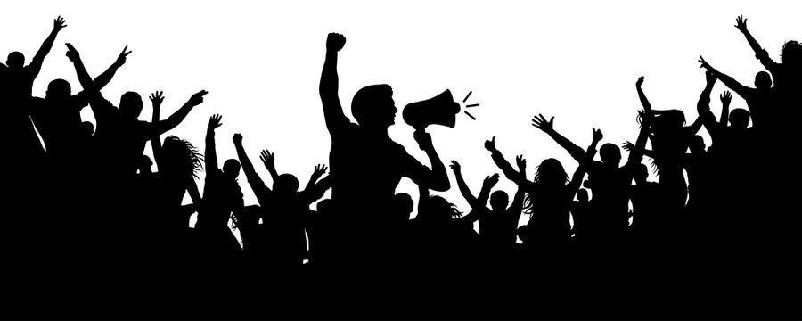 Human Motivator. Crowd of people silhouette vector. Speaker, loudspeaker, orator, spokesman. Applause of a cheerful people mob. Sports fans. Demonstration, protest. Cheerful people crowd applause
