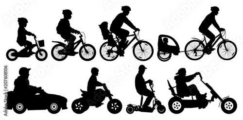 Family With Children Traveling On Bikes Mountain Bike Cyclist With