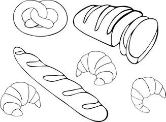 Bread vector hand drawn set illustration. Gluten food bakery collection.