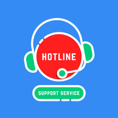 color linear hotline support service sticker