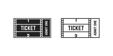 set of cinema or online movie ticket