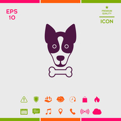 Dog with bone- logo, symbol, protect sign, icon. Meals for pet