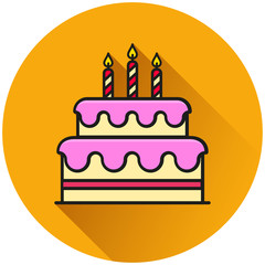 birthday cake circle icon concept