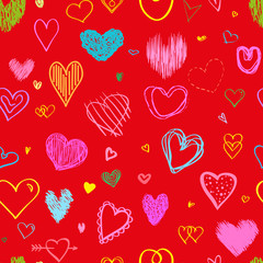 Seamless background with big and small hearts. Abstract geometric wallpaper of the surface. Hand drawn simple love signs. Collection. Line art. Print for polygraphy, posters, t-shirts and textiles. Do