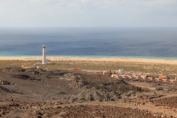 View of the Morro Jable in Fuerteventura with hotels, lighthouse and beaches