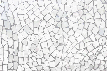 Broken tiles mosaic seamless pattern. White and Grey the tile wall high resolution real photo or brick seamless and texture interior background. Fototapete