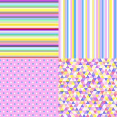 Set of seamless multicolored patterns. Geometrical background. Abstract geometric wallpaper of the surface. Striped texture. Print for polygraphy, posters, t-shirts and textiles. Doodle for design