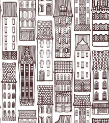 City Pattern with Cute Houses in Hand-Drawn Style