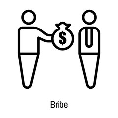 Bribe icon vector sign and symbol isolated on white background