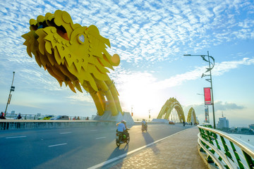 Dragon bridge  of Han river in Vietnam.