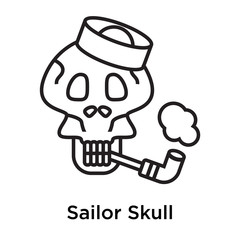 Sailor Skull icon vector sign and symbol isolated on white background, Sailor Skull logo concept