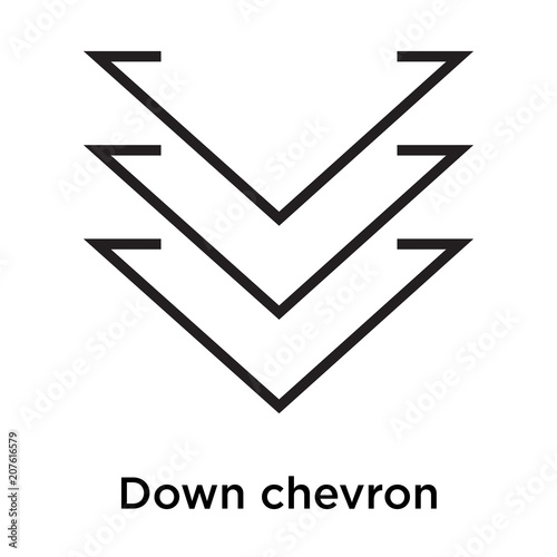 Down Chevron Icon Vector Sign And Symbol Isolated On White