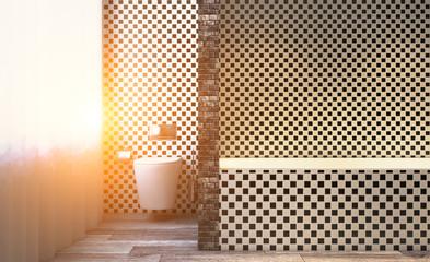 Scandinavian bathroom, classic  vintage interior design. 3D rendering