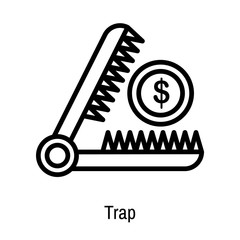 Trap icon vector sign and symbol isolated on white background