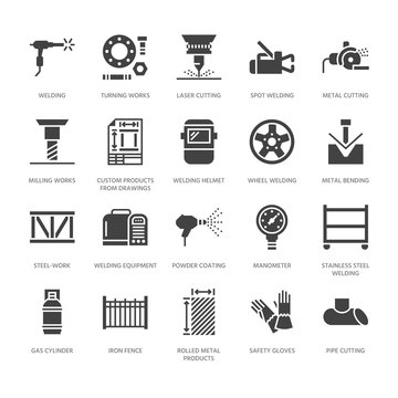 Welding services flat glyph icons. Rolled metal products, steelwork, stainless steel laser cutting, fabrication, safety equipment. Industry sign for welder. Solid silhouette pixel perfect 64x64.