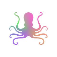 Colorful Octopus Icon on White Background. Stilized Logo Design. Sea Food Symbol.