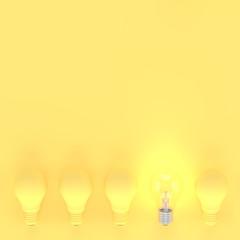 Light bulb pastel yellow minimal concept