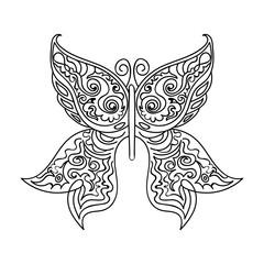 Beautiful handwritten ornamental vector butterfly with figured wings
