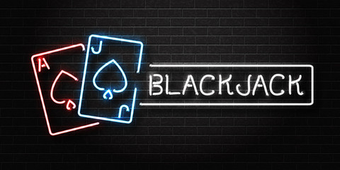 Vector realistic isolated neon sign of Blackjack logo for decoration and covering on the wall background. Concept of casino and gambling.