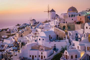 Fototapeta Sunset Santorini Oia village Greece
