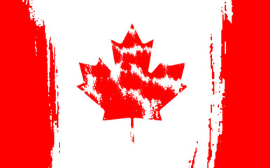 Happy Canada Day, july 1 holiday celebrate card. Maple leaf on flag made in brush stroke background.