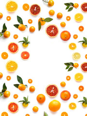 Fototapete - Various  fruits (orange, tangerine) isolated on white background, top view, creative flat layout.
