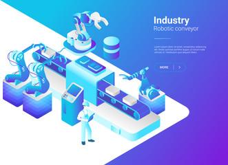 Isometric Flat Robotics Factory Conveyor vector. Robot industry