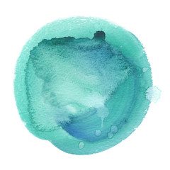 Pastel teal green circle painted in watercolor on clean white background