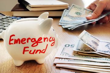 Emergency fund written on a piggy bank.