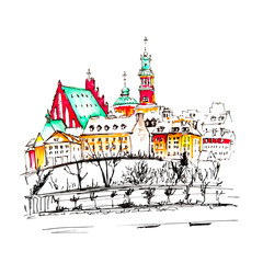 Old Town with and the Vistula River in the winter day, Warsaw, Poland. Hand drawn picture made markers and liner