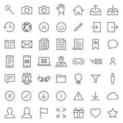 Utility Social Network vector icon set. Included the icons as download, map, file
