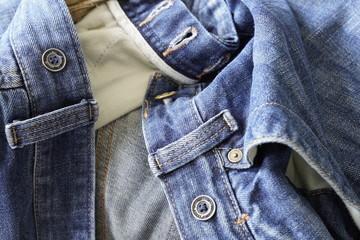 Wrinkled denim jeans
