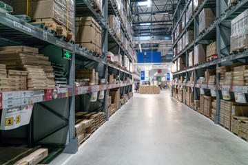 Industrial warehouses and shelves with boxes