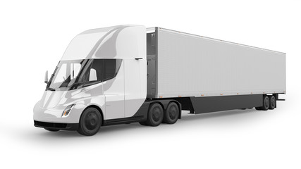 Electric Semi Truck 3D Rendering Isolated on White