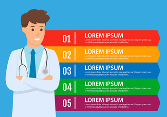 Man doctor standing with a infographics board. Can be used for diagram, workflow layout, banner, web design. Vector illustration.